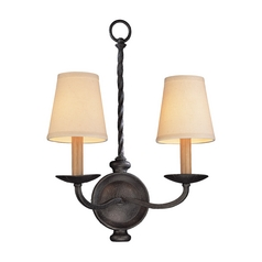 Sconce Wall Light with Beige / Cream Shades in English Iron Finish