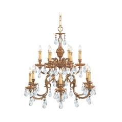 Crystorama Lighting Crystal Chandelier in Olde Brass Finish 2912-OB-CL-S