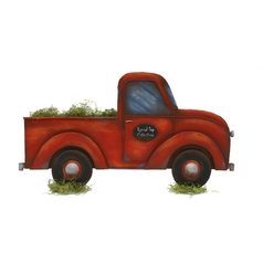 The Round Top Collection Red Pick-Up Truck Decoration Y1007