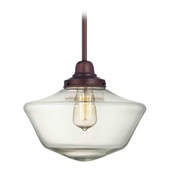 12-Inch Clear Glass Schoolhouse Pendant Light in Bronze Finish
