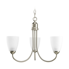 Progress Lighting Progress Chandelier with White Glass in Brushed Nickel Finish P4440-09