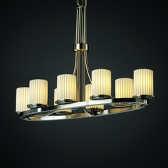 Justice Design Limoges 8-Light Chandelier in Brushed Nickel