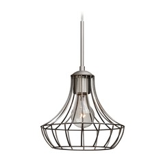 Besa Lighting Spezza Satin Nickel Mini-Pendant Light with Urn Shade