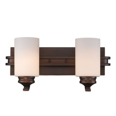 Hidalgo Two Light Vanity in the Sovereign Bronze finish with Opal Glass