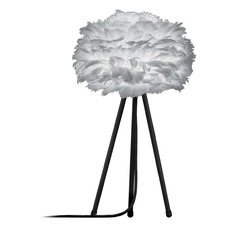 UMAGE Black Table Lamp with Grey Feather Shade