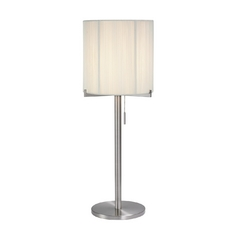Mid-Century Modern Table Lamp Satin Nickel Boxus by Sonneman Lighting