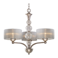 Modern Chandelier with Silver Shade in Antique Silver Finish