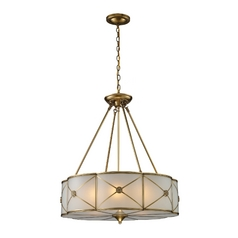 Drum Pendant Light with White Glass in Brushed Brass Finish