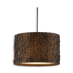 Drum Pendant Light with Brown Tones Shade in Hand Rubbed Espresso
