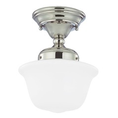 8-Inch Nickel Schoolhouse Ceiling Light