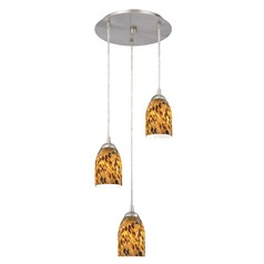 Design Classics Lighting Modern Multi-Light Pendant Light with Brown Art Glass and 3-Lights 583-09 GL1005D