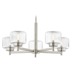 Industrial Seeded Glass Chandelier Satin Nickel 5-Lt