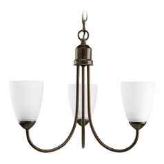 Progress Lighting Progress Chandelier with White Glass in Antique Bronze Finish P4440-20