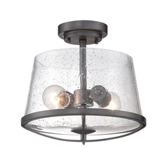 Seeded Glass Semi-Flushmount Light Iron Designers Fountain Lighting
