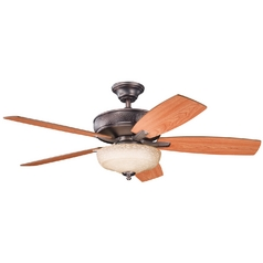 Kichler Ceiling Fan with Light in Oil Brushed Bronze Finish