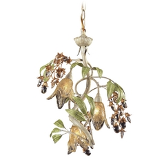 Mini-Chandelier with Amber Glass in Seashell Finish