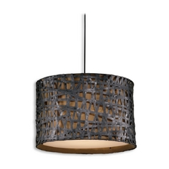 Drum Pendant Light with Brown Shade in Aged Black Finish