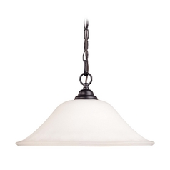 Chain Hung Bronze Pendant Light with White Glass