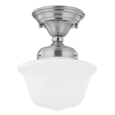 8-Inch Schoolhouse Ceiling Light with Opal White Glass