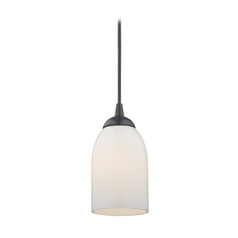 Design Classics Lighting Mini-Pendant Light with Opal White Glass in Black Finish 582-07 GL1024D