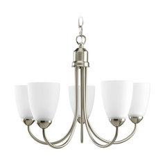 Progress Lighting Progress Chandelier with White Glass in Brushed Nickel Finish P4441-09