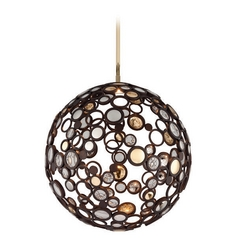 Corbett Lighting Bronze LED Pendant Light with Globe Shade