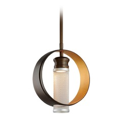 Troy Lighting Insight Modern Bronze with Gold Leaf LED Mini-Pendant Light with Cylindrical Shade