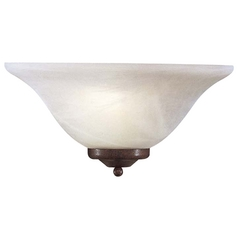 Sconce Wall Light with White Glass in Bronze Finish
