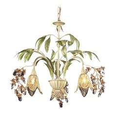 Chandelier with Amber Glass in Seashell Finish