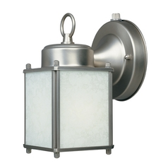 Outdoor Wall Light with Amber Glass in Rust Patina Finish