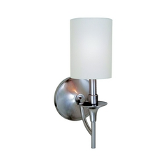 Modern Sconce Wall Light with White Shade in Brushed Nickel Finish
