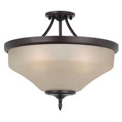 Semi-Flushmount Light with Beige / Cream Glass in Burnt Sienna Finish