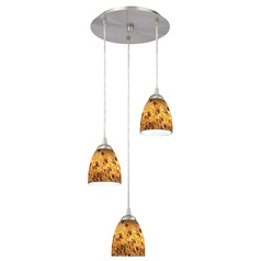 Design Classics Lighting Modern Multi-Light Pendant Light with Brown Art Glass and 3-Lights 583-09 GL1005MB