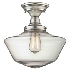 12-Inch Satin Nickel Clear Glass Schoolhouse Semi-Flushmount Light