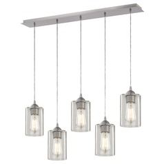 Design Classics Gala Satin Nickel Multi-Light Pendant with Cylindrical Shade