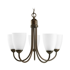 Progress Lighting Progress Chandelier with White Glass in Antique Bronze Finish P4441-20