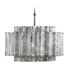 Currey and Company Lighting Lone Old Iron / Galvanized Pendant Light with Drum Shade