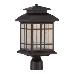 Seeded Glass LED Post Light Oil Rubbed Bronze Designers Fountain Lighting