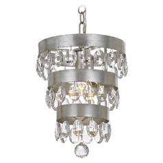 Crystorama Lighting Perla Antique Silver Mini-Pendant Light
