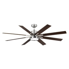 Monte Carlo Empire Dr Brushed Steel LED Ceiling Fan with Light