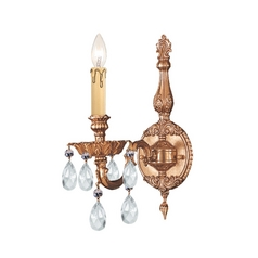 Crystorama Lighting Crystal Sconce Wall Light in Olde Brass Finish 2501-OB-CL-MWP