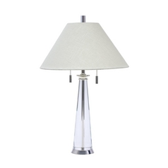 Modern Table Lamp with White Shades in Polished Silver Finish
