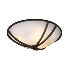 Modern Flushmount Light with White Glass in Oil Rubbed Bronze Finish