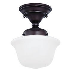 8-Inch Bronze Finish Schoolhouse Semi-Flushmount Ceiling Light