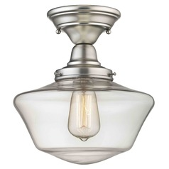 10-Inch Clear Glass Schoolhouse Semi-Flushmount Light in Satin Nickel