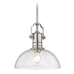 Seeded Glass Pendant Light Satin Nickel 13-Inch Wide