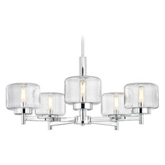 Industrial Seeded Glass Chandelier Chrome 5-Lt