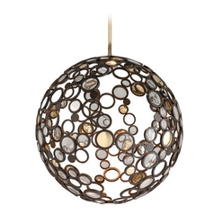 Corbett Lighting Bronze Pendant Light with Globe Shade