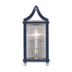 Leighton PW Wall Sconce in Pewter with Navy