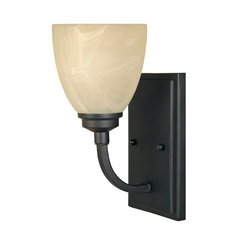Sconce Wall Light with Alabaster Glass in Burnished Bronze Finish